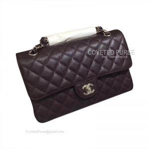 Chanel Medium Flap Bag Coffee Caviar With Silver HW