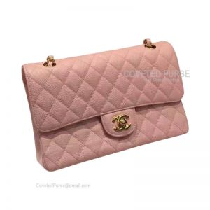 Chanel Medium Flap Bag Light Pink Caviar With Shiny Gold HW