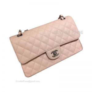 Chanel Medium Flap Bag Light Pink Caviar With Silver HW
