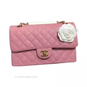 Chanel Medium Flap Bag Peach Pink Caviar With Gold HW