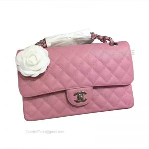 Chanel Medium Flap Bag Peach Pink Caviar With Silver HW