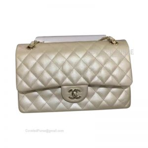 Chanel Medium Flap Bag Champagne Caviar With Shiny Gold HW