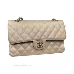 Chanel Medium Flap Bag Champagne Caviar With Gold HW