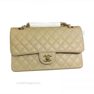 Chanel Medium Flap Bag Apricot Caviar With Gold HW