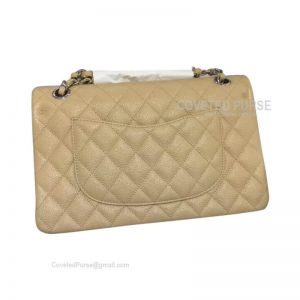 Chanel Medium Flap Bag Apricot Caviar With Shiny Silver HW