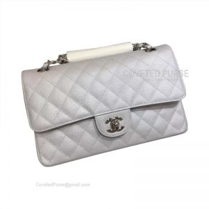 Chanel Medium Flap Bag Metallic Caviar With Silver HW