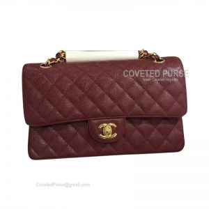 Chanel Medium Flap Bag Bordeaux Caviar With Gold HW