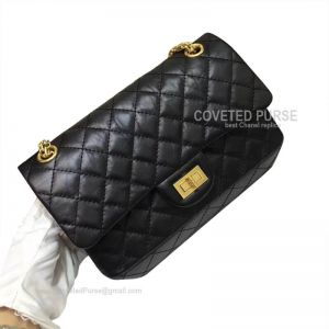 Chanel New Medium Reissue Black Crumpled Calfskin With Gold HW