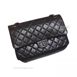Chanel New Medium Reissue Black Crumpled Calfskin With Silver HW