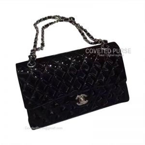 Chanel Jumbo Flap Bag Patent In Black With Silver HW