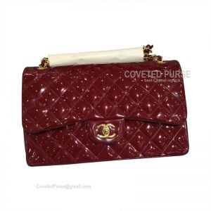 Chanel Jumbo Flap Bag Patent In Wine With Gold HW