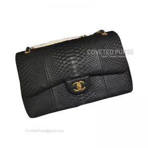 Chanel Jumbo Flap Bag Black Python With Gold HW