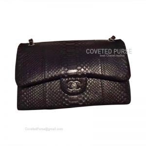 Chanel Jumbo Flap Bag Black Python With Silver HW