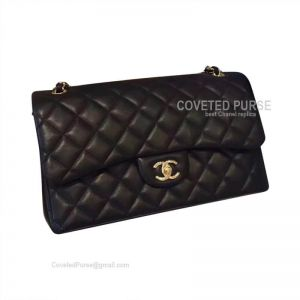 Chanel Jumbo Flap Bag Black Lambskin With Gold HW
