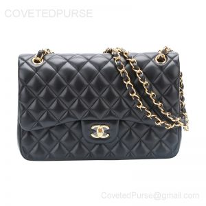 Chanel Jumbo Flap Bag Black Lambskin With Gold HW