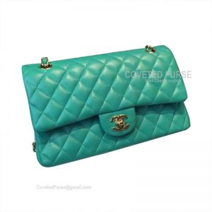 Chanel Jumbo Flap Bag Lake Green Lambskin With Gold HW