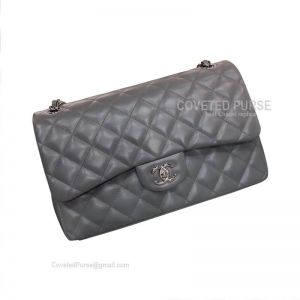 Chanel Jumbo Flap Bag Gray Lambskin With Silver HW