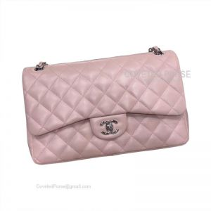 Chanel Jumbo Flap Bag Light Pink Lambskin With Silver HW