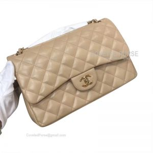 Chanel Jumbo Flap Bag Apricot Lambskin With Gold HW