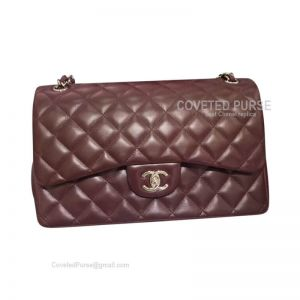 Chanel Jumbo Flap Bag Jujube Red Lambskin With Silver HW