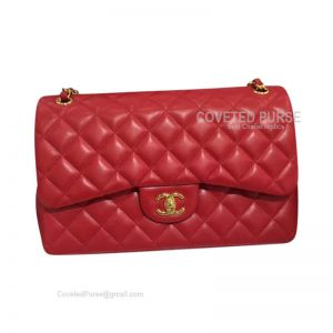 Chanel Jumbo Flap Bag Red Caviar With Gold HW