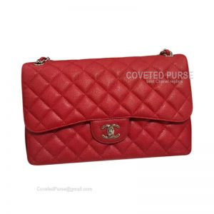 Chanel Jumbo Flap Bag Red Caviar With Silver HW