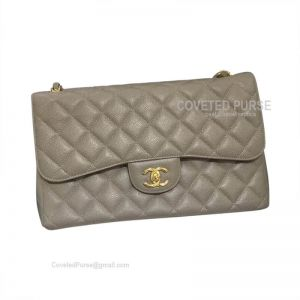 Chanel Jumbo Flap Bag Elephant Ash Caviar With Gold HW