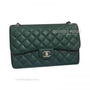 Chanel Jumbo Flap Bag Emerald Green Caviar With Silver HW