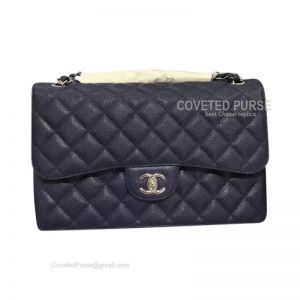 Chanel Jumbo Flap Bag Navy Blue Caviar With Silver HW