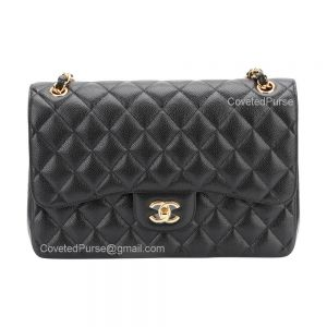 Chanel Jumbo Flap Bag Black Caviar With Gold HW