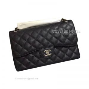 Chanel Jumbo Flap Bag Black Caviar With Silver HW