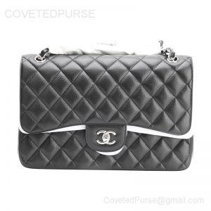 Chanel Jumbo Flap Bag Black Caviar With Silver HW