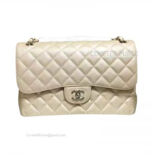 Chanel Jumbo Flap Bag Khaki Caviar With Silver HW
