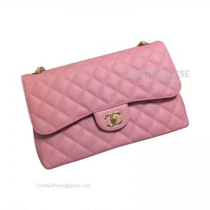 Chanel Jumbo Flap Bag Peach Pink Caviar With Gold HW