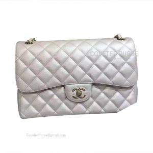 Chanel Jumbo Flap Bag Metallic Caviar With Silver HW