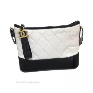 Chanel Gabrielle Hobo Bag Crumpled Calfskin White