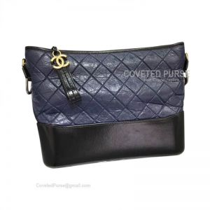 Chanel Gabrielle Large Hobo Bag Crumpled Calfskin Sapphire