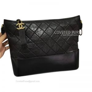 Chanel Gabrielle Large Hobo Bag Crumpled Calfskin Black