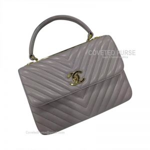 Chanel Turtledove Ash Lambskin Flap Bag Chevron With Top Handle Gold HW