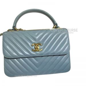 Chanel Mint Blue Lambskin Flap Bag Chevron With Top Handle Gold HW