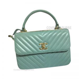 Chanel Mint Green Lambskin Flap Bag Chevron With Top Handle Gold HW