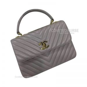 Chanel Elephant Ash Lambskin Flap Bag Chevron With Top Handle Gold HW
