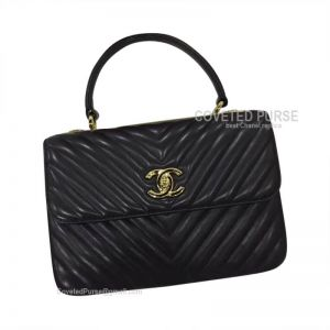 Chanel Black Lambskin Flap Bag Chevron With Top Handle Gold HW