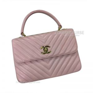 Chanel Sakura Pink Lambskin Flap Bag Chevron With Top Handle Gold HW