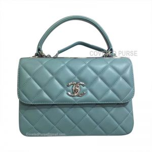 Chanel Mint Green Lambskin Flap Bag With Top Handle Silver HW