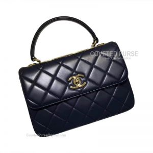 Chanel Sapphire Lambskin Flap Bag With Top Handle Gold HW