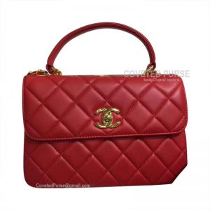 Chanel Red Lambskin Flap Bag With Top Handle Gold HW