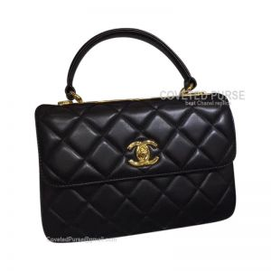 Chanel Black Lambskin Flap Bag With Top Handle Gold HW