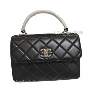 Chanel Black Lambskin Flap Bag With Top Handle Silver HW