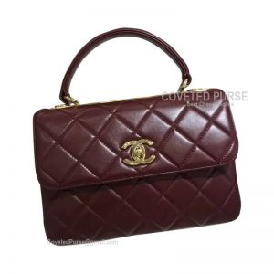 Chanel Wine Lambskin Flap Bag With Top Handle Gold HW